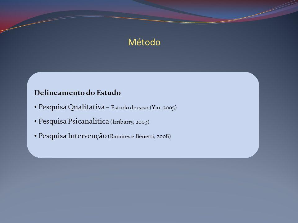 Método Delineamento do Estudo
