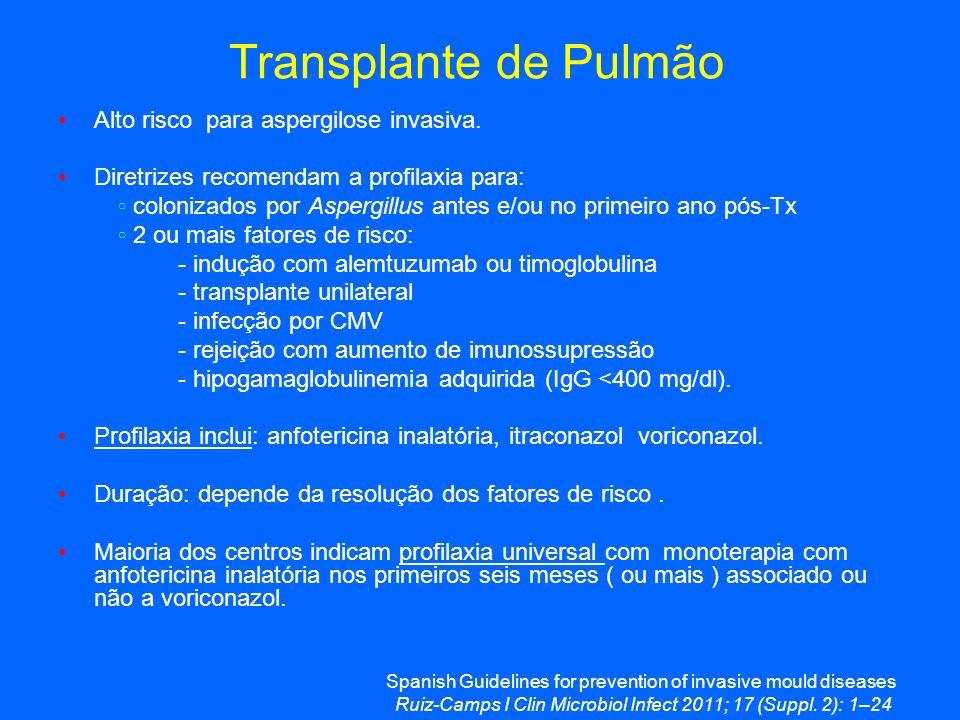 Transplante de Pulmão Alto risco para aspergilose invasiva.