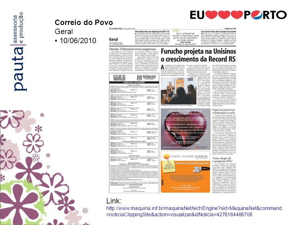 Correio do Povo Geral. • 10/06/2010.