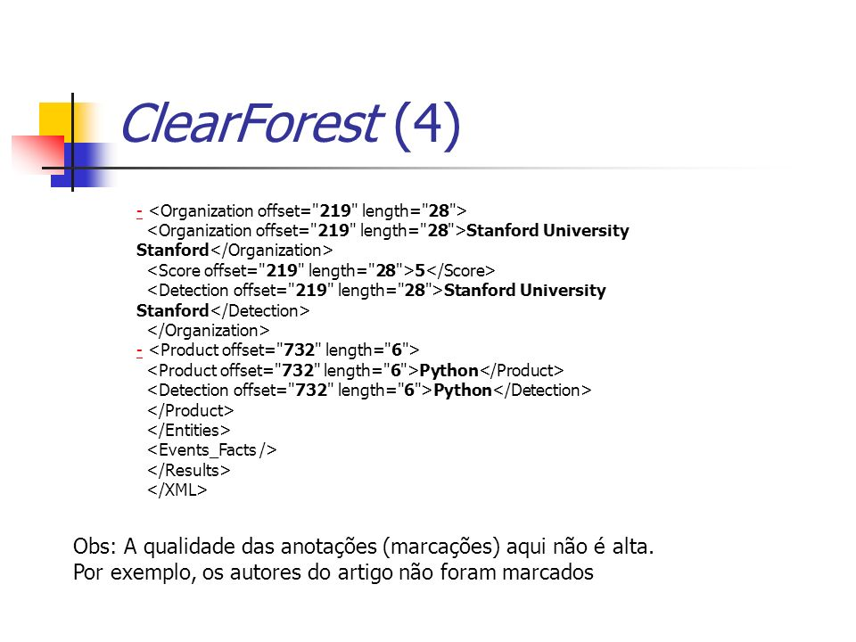 ClearForest (4) - <Organization offset= 219 length= 28 > <Organization offset= 219 length= 28 >Stanford University Stanford</Organization>