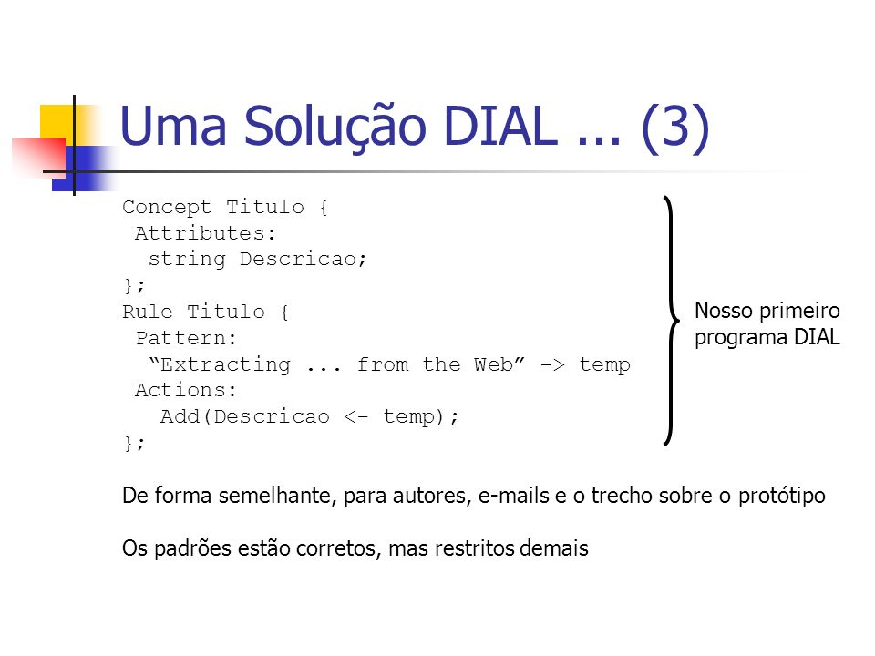 Uma Solução DIAL ... (3) Concept Titulo { Attributes: