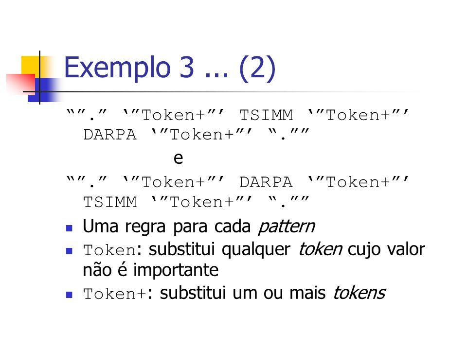 Exemplo 3 ... (2) . ' Token+ ' TSIMM ' Token+ ' DARPA ' Token+ ' . e. . ' Token+ ' DARPA ' Token+ ' TSIMM ' Token+ ' .