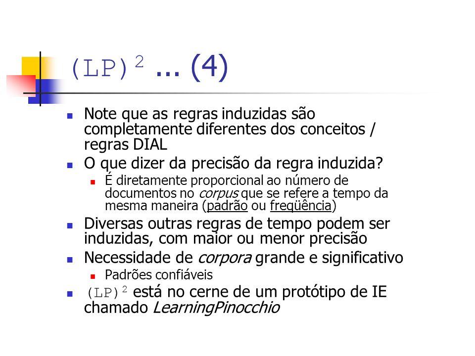 (LP)2 ... (4) Note que as regras induzidas são completamente diferentes dos conceitos / regras DIAL.
