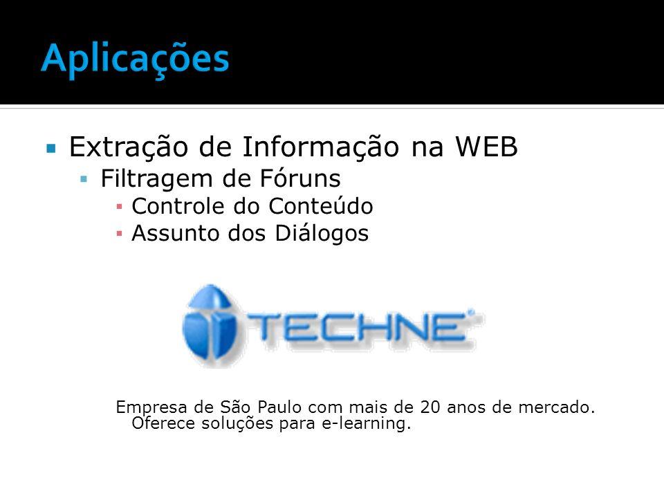 Aplicações Extração de Informação na WEB Filtragem de Fóruns