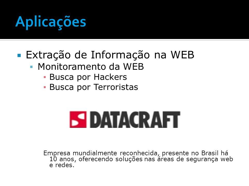 Aplicações Extração de Informação na WEB Monitoramento da WEB
