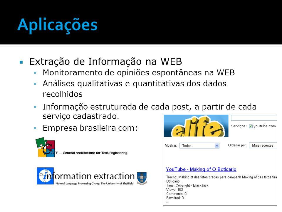 Aplicações Extração de Informação na WEB