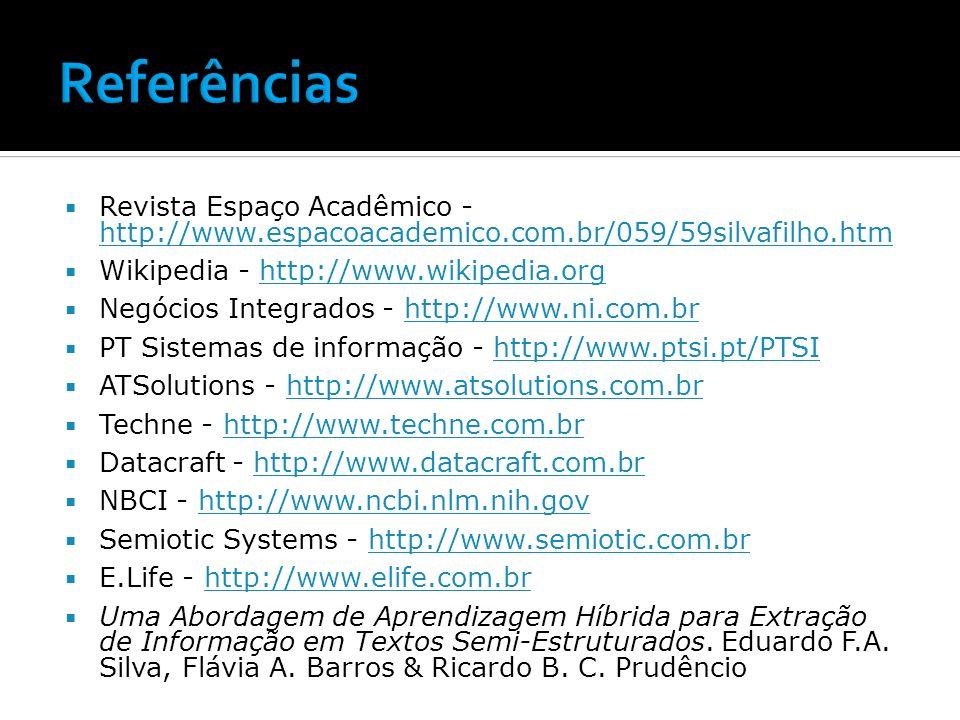 Referências Revista Espaço Acadêmico - http://www.espacoacademico.com.br/059/59silvafilho.htm. Wikipedia - http://www.wikipedia.org.