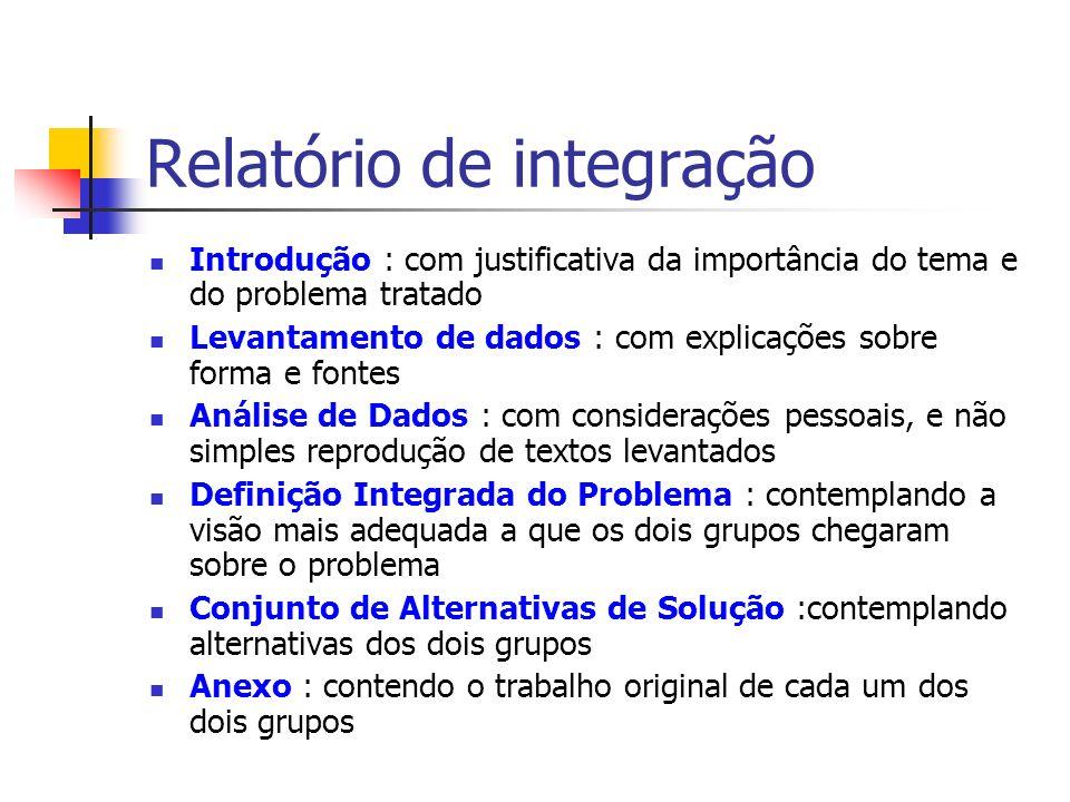 Relatório de integração