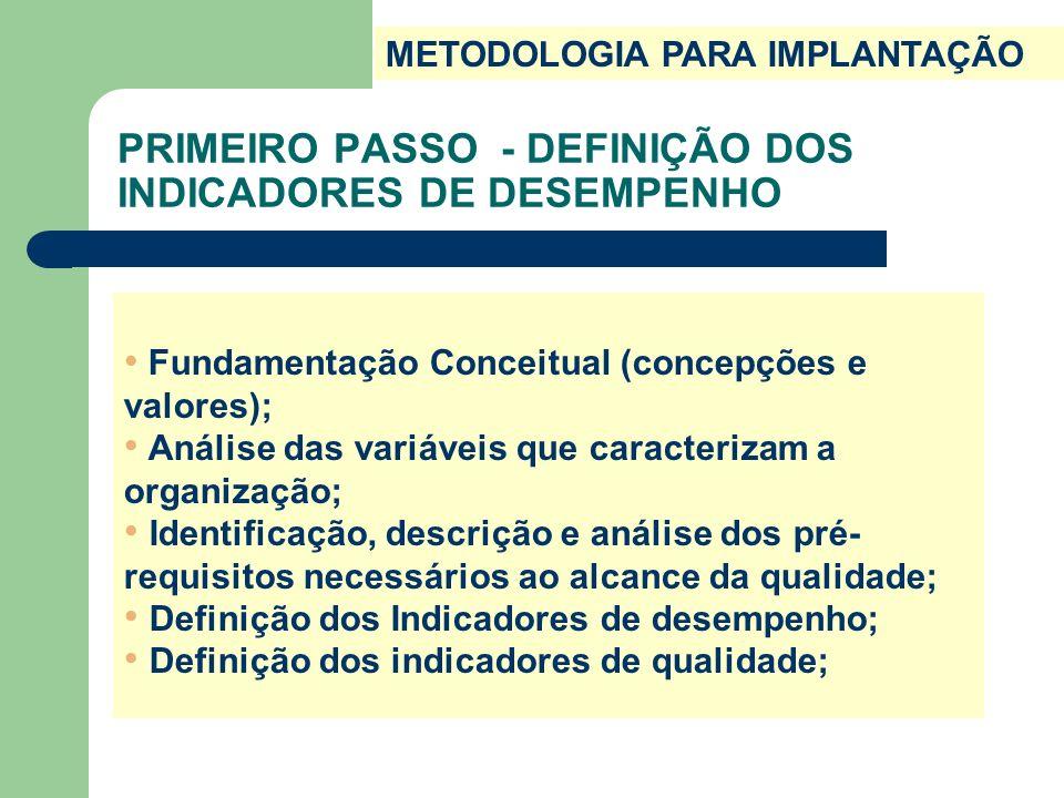PRIMEIRO PASSO - DEFINIÇÃO DOS INDICADORES DE DESEMPENHO