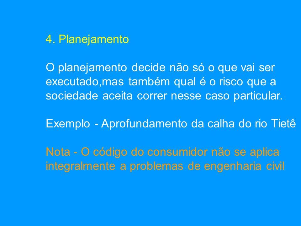 4. Planejamento O planejamento decide não só o que vai ser. executado,mas também qual é o risco que a.