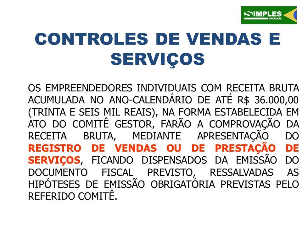 CONTROLES DE VENDAS E SERVIÇOS