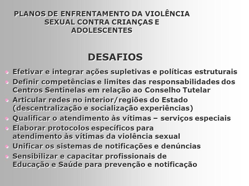 PLANOS DE ENFRENTAMENTO DA VIOLÊNCIA SEXUAL CONTRA CRIANÇAS E ADOLESCENTES