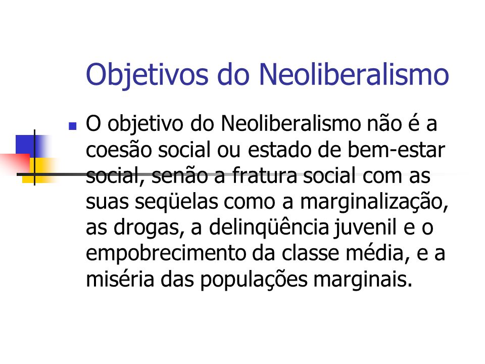 Objetivos do Neoliberalismo