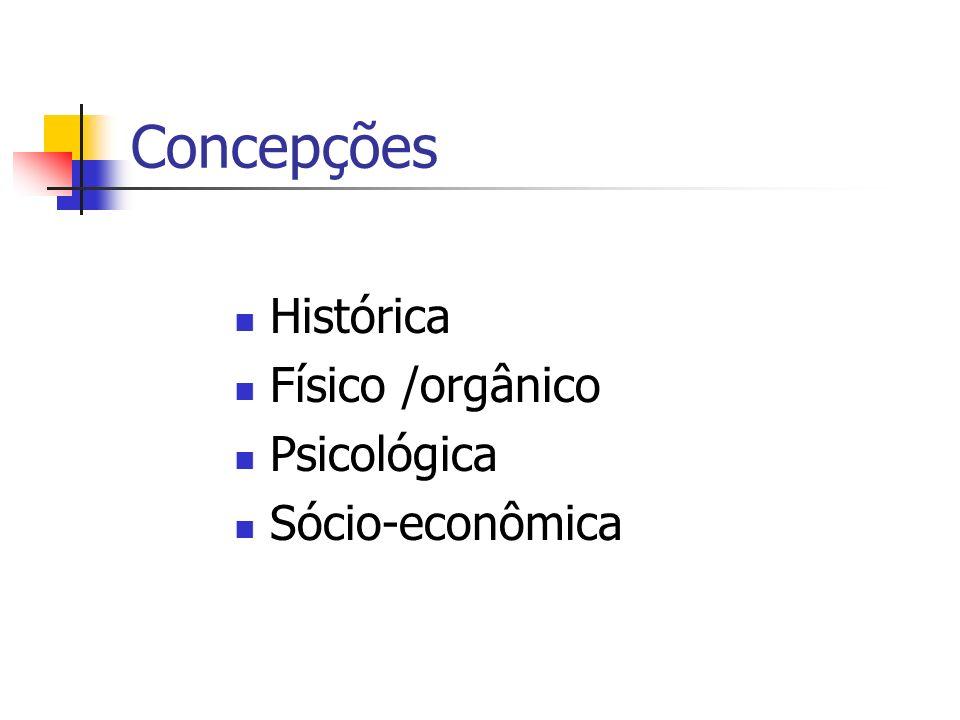 Concepções Histórica Físico /orgânico Psicológica Sócio-econômica