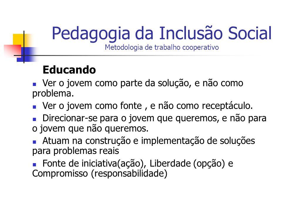 Pedagogia da Inclusão Social Metodologia de trabalho cooperativo