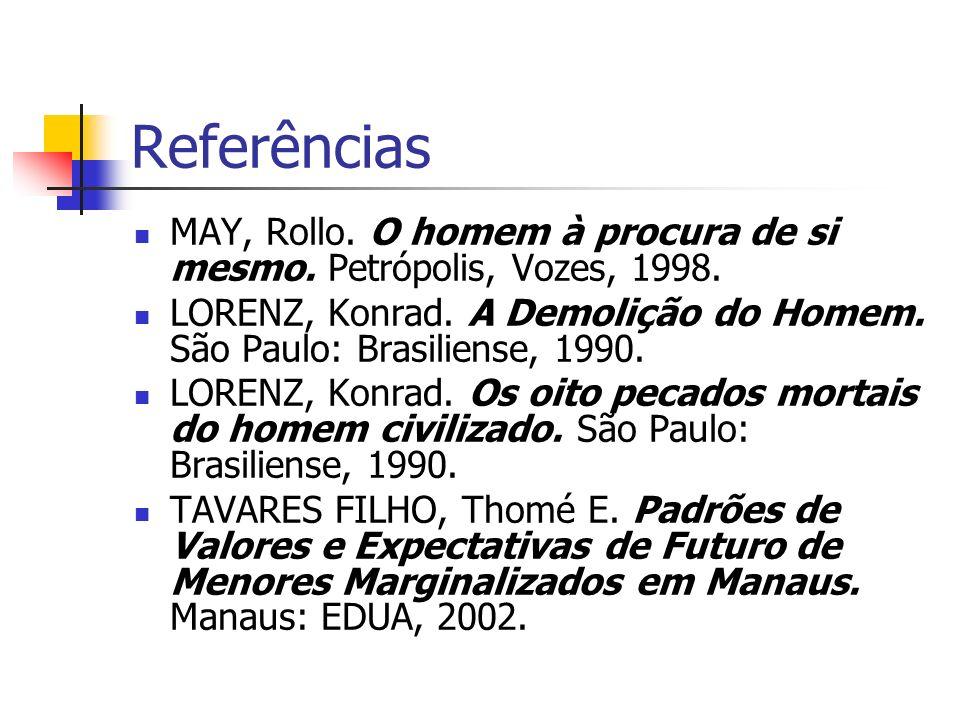 Referências MAY, Rollo. O homem à procura de si mesmo. Petrópolis, Vozes, 1998. LORENZ, Konrad. A Demolição do Homem. São Paulo: Brasiliense, 1990.