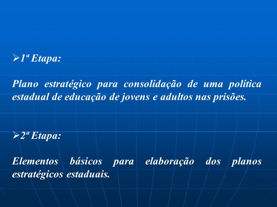 1ª Etapa: Plano estratégico para consolidação de uma política estadual de educação de jovens e adultos nas prisões.