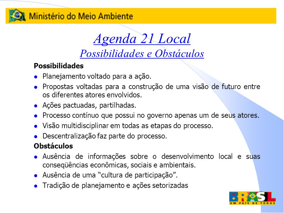 Agenda 21 Local Possibilidades e Obstáculos
