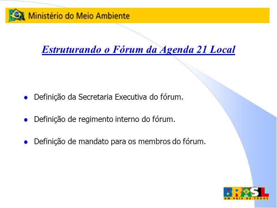 Estruturando o Fórum da Agenda 21 Local