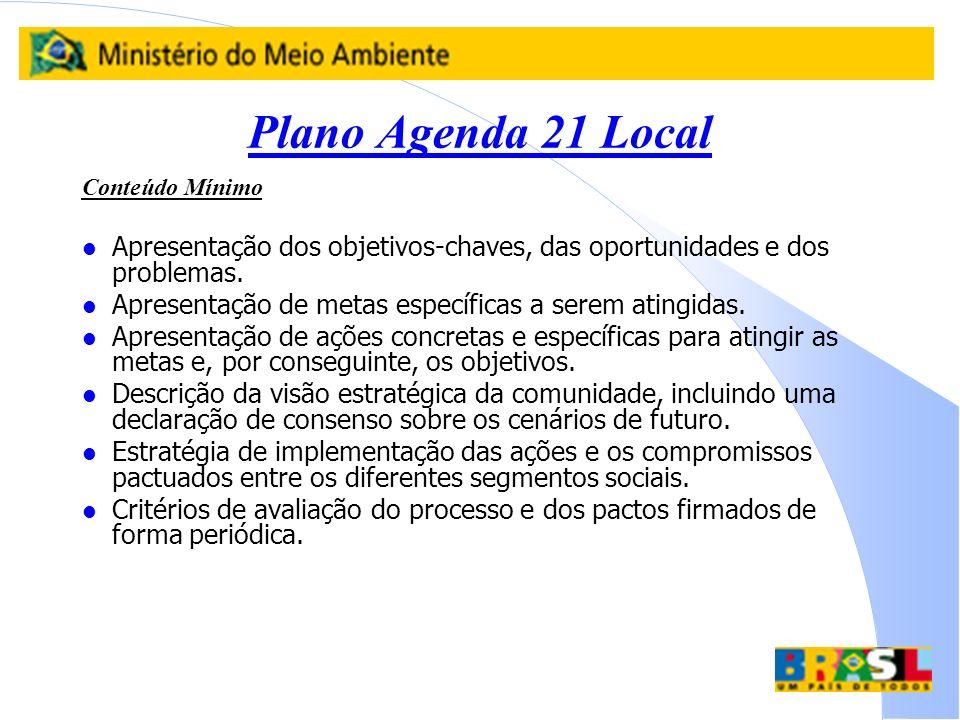 Plano Agenda 21 Local Conteúdo Mínimo. Apresentação dos objetivos-chaves, das oportunidades e dos problemas.