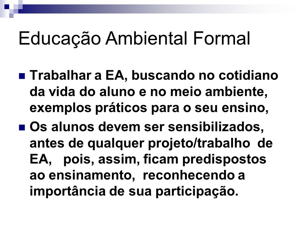 Educação Ambiental Formal