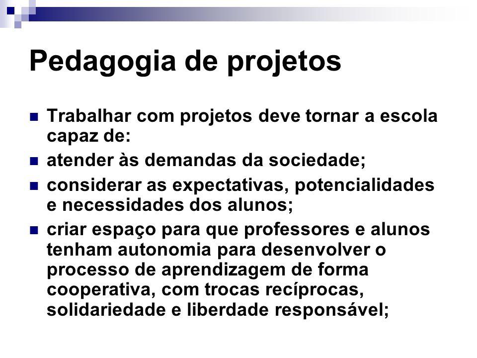 Pedagogia de projetosTrabalhar com projetos deve tornar a escola capaz de: atender às demandas da sociedade;