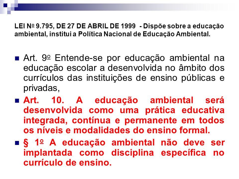 LEI No 9.795, DE 27 DE ABRIL DE 1999 - Dispõe sobre a educação ambiental, institui a Política Nacional de Educação Ambiental.