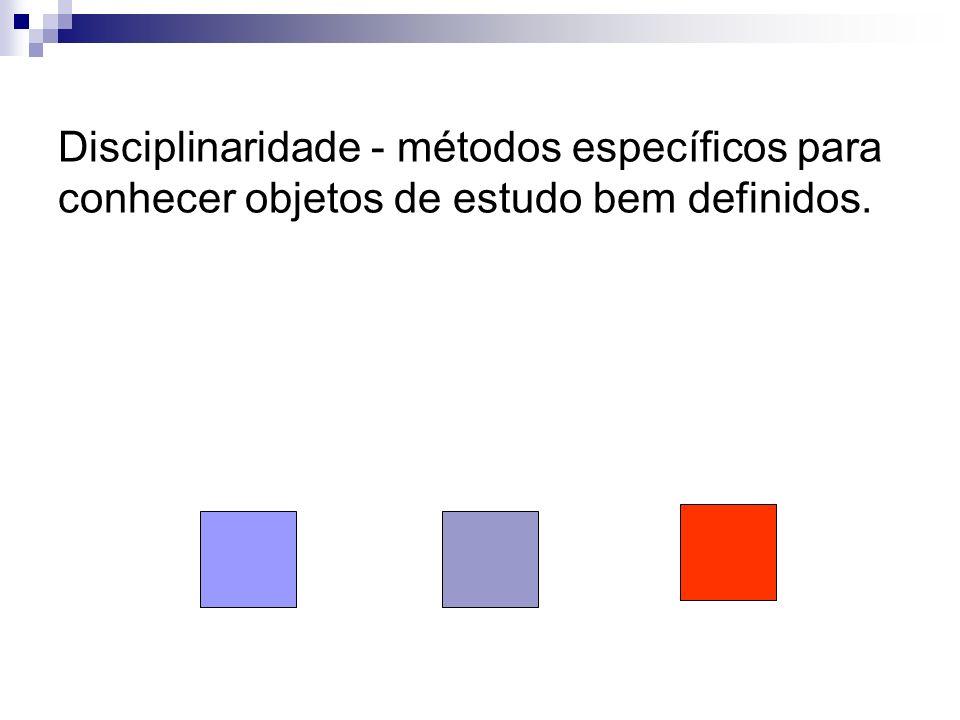 Disciplinaridade - métodos específicos para conhecer objetos de estudo bem definidos.