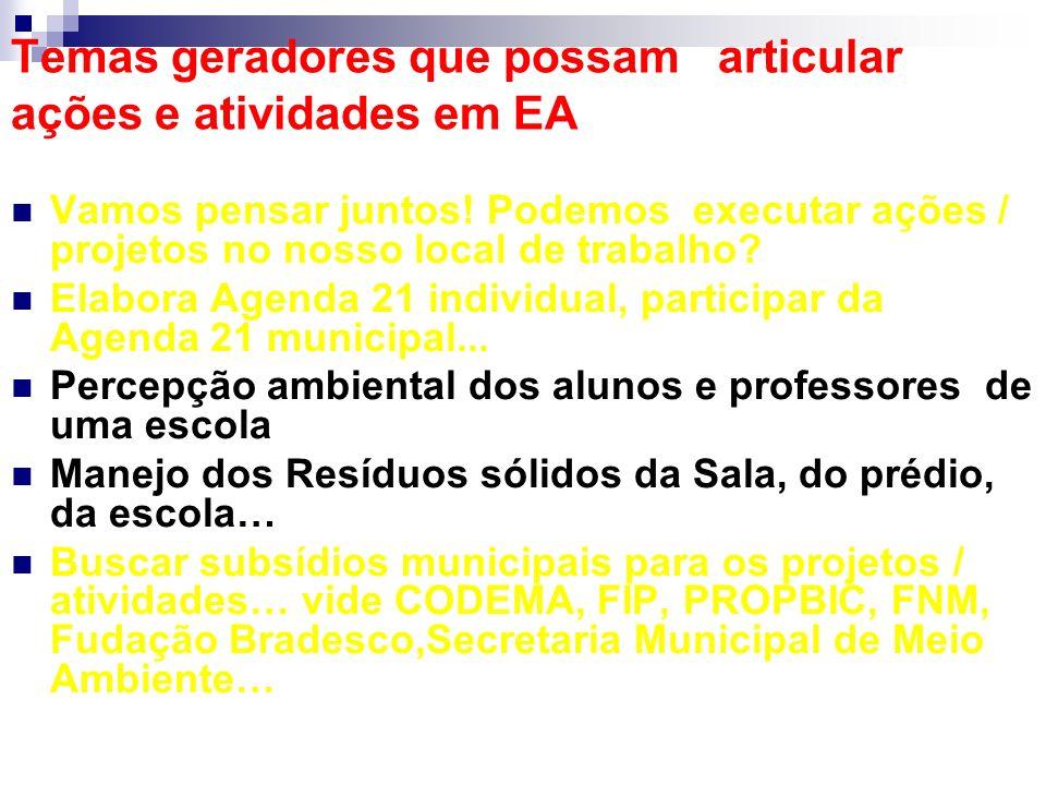 Temas geradores que possam articular ações e atividades em EA