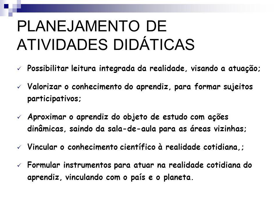PLANEJAMENTO DE ATIVIDADES DIDÁTICAS
