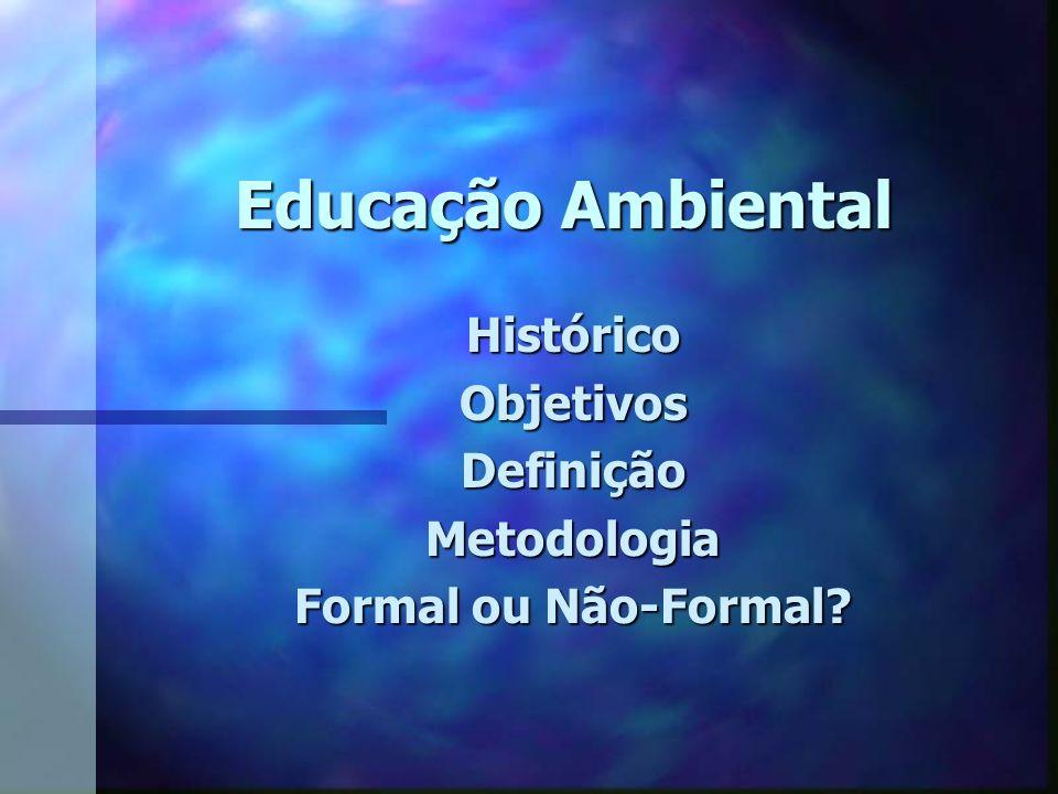 Histórico Objetivos Definição Metodologia Formal ou Não-Formal