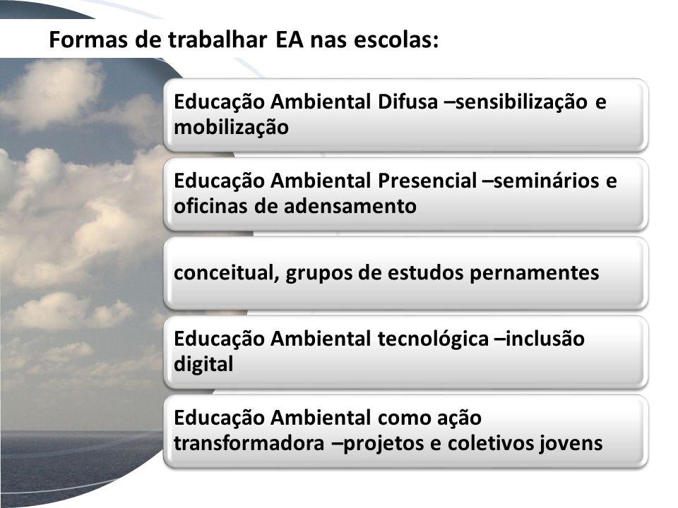 Formas de trabalhar EA nas escolas: