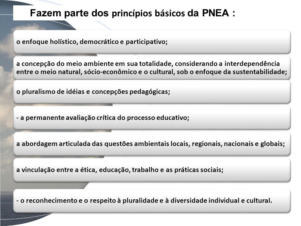 Fazem parte dos princípios básicos da PNEA :