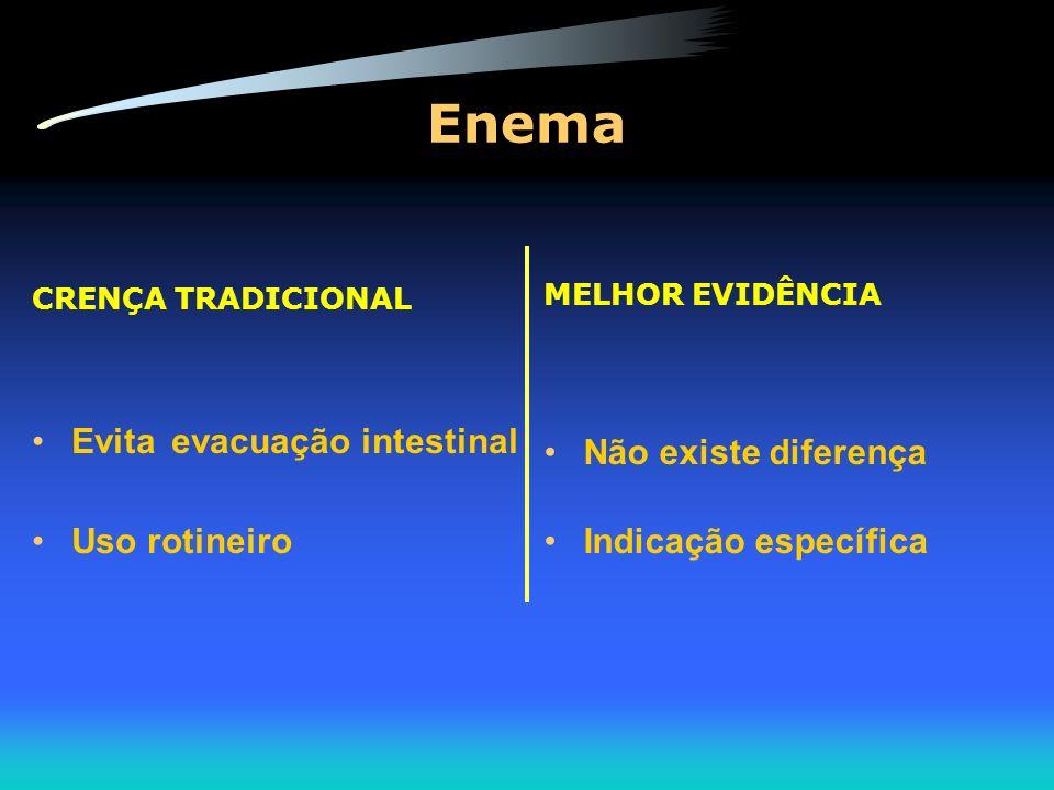 Enema Evita evacuação intestinal Não existe diferença