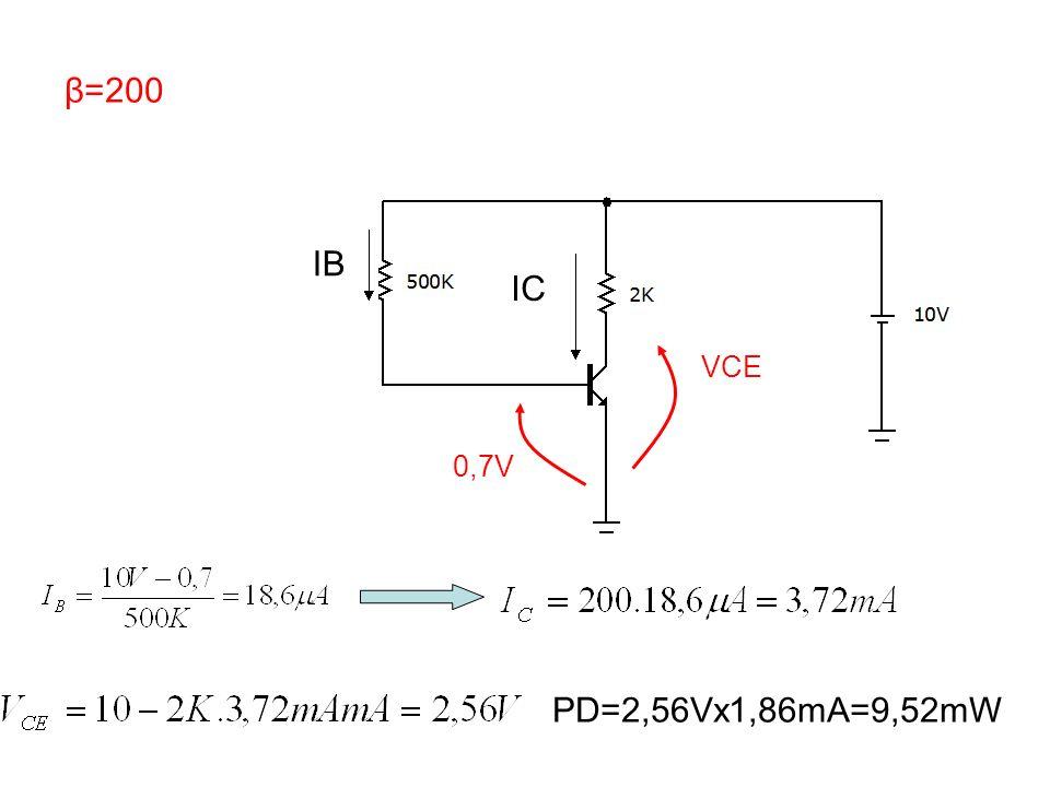 β=200 IB IC VCE 0,7V PD=2,56Vx1,86mA=9,52mW