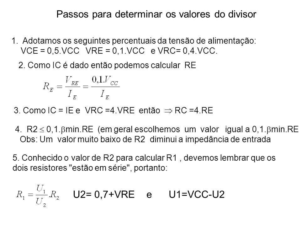 Passos para determinar os valores do divisor