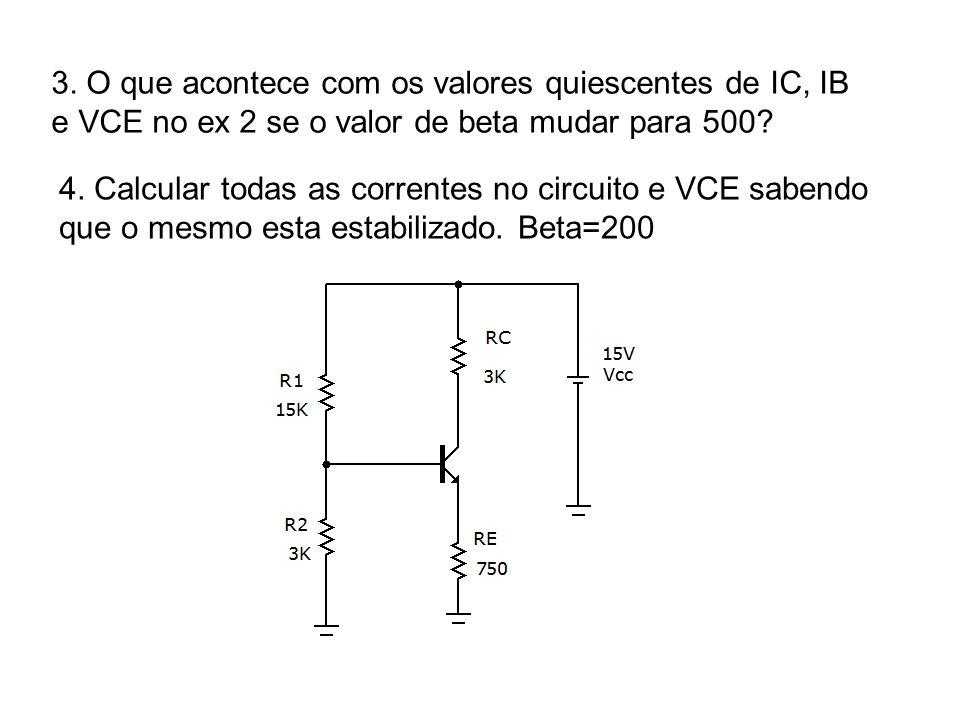 3. O que acontece com os valores quiescentes de IC, IB