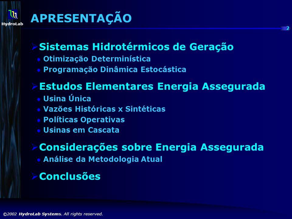 APRESENTAÇÃO Sistemas Hidrotérmicos de Geração