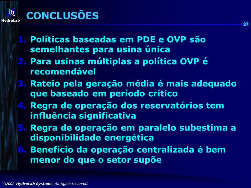 CONCLUSÕES Políticas baseadas em PDE e OVP são semelhantes para usina única. Para usinas múltiplas a política OVP é recomendável.