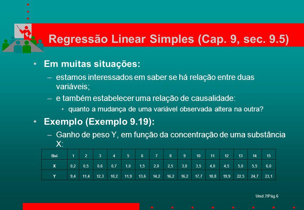 Regressão Linear Simples (Cap. 9, sec. 9.5)