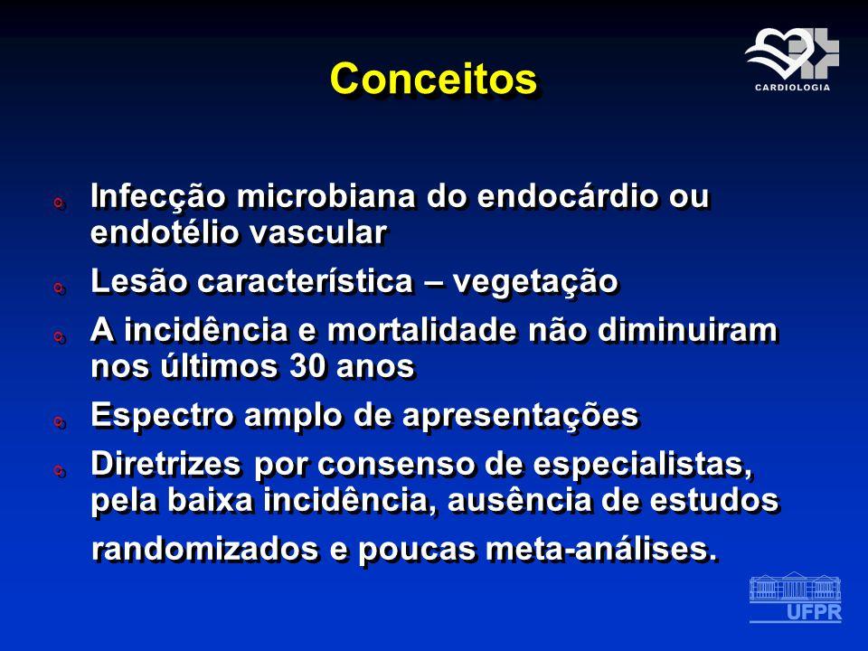 Conceitos Infecção microbiana do endocárdio ou endotélio vascular