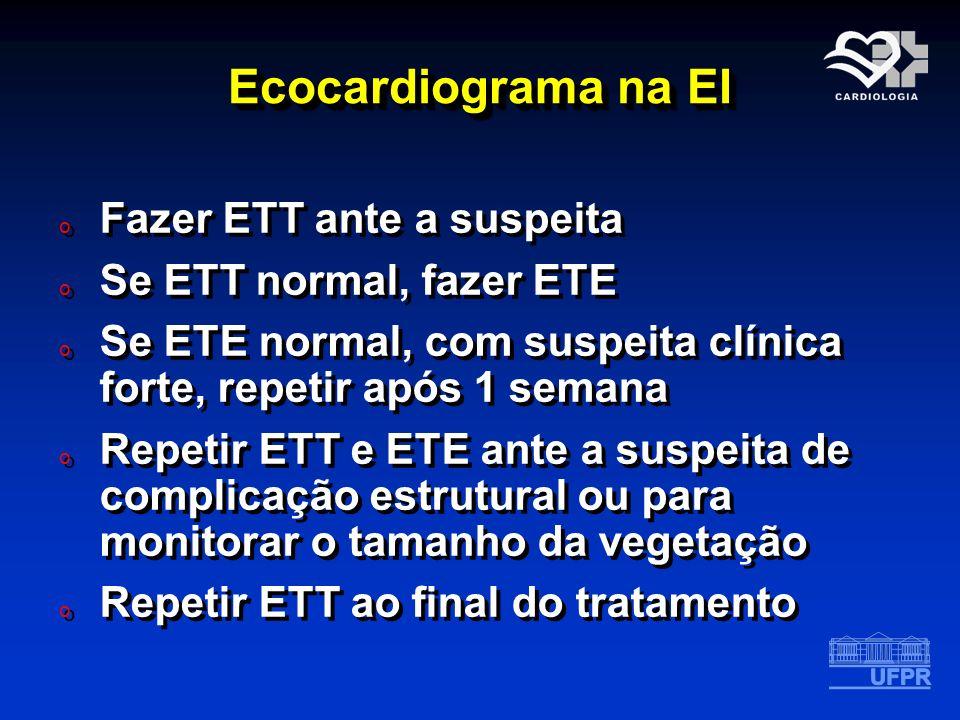 Ecocardiograma na EI Fazer ETT ante a suspeita