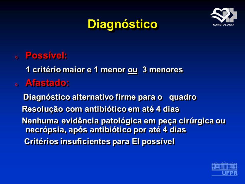 Diagnóstico Possível: 1 critério maior e 1 menor ou 3 menores