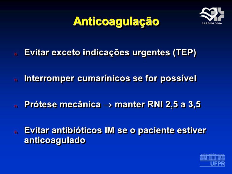 Anticoagulação Evitar exceto indicações urgentes (TEP)