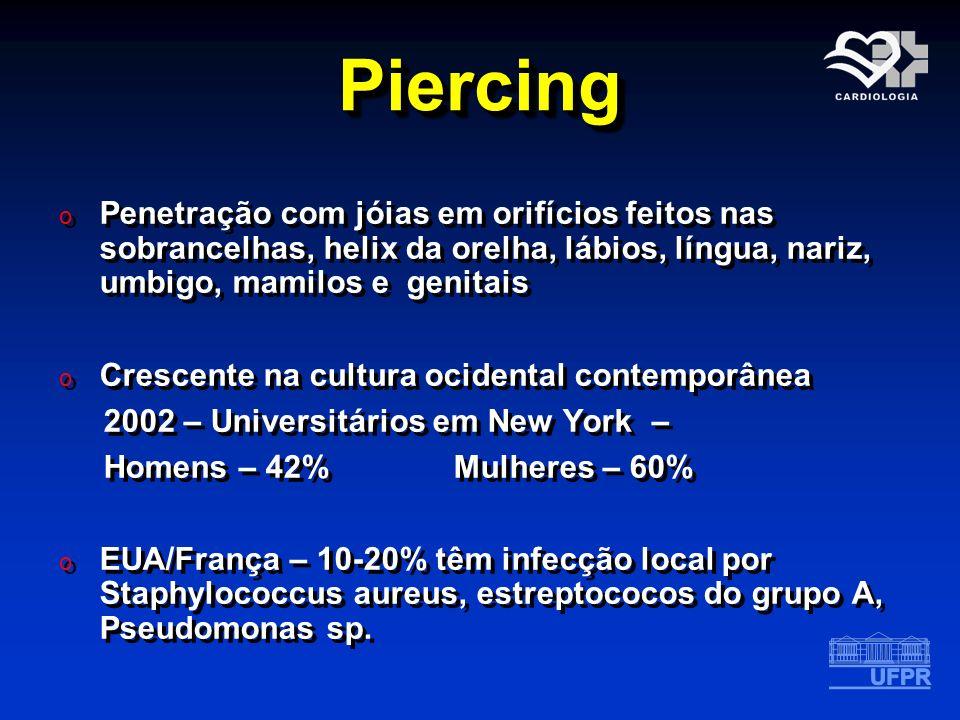 Piercing Penetração com jóias em orifícios feitos nas sobrancelhas, helix da orelha, lábios, língua, nariz, umbigo, mamilos e genitais.