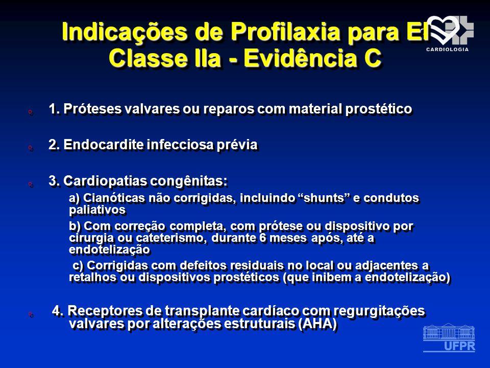 Indicações de Profilaxia para EI Classe IIa - Evidência C