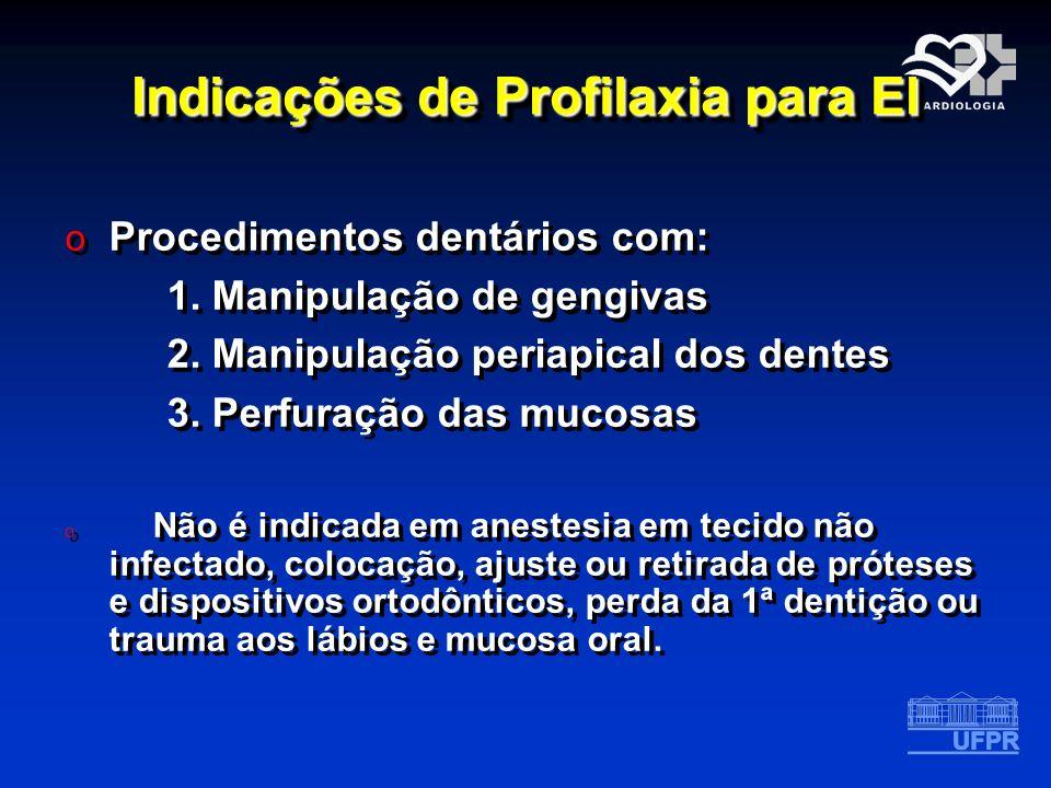 Indicações de Profilaxia para EI