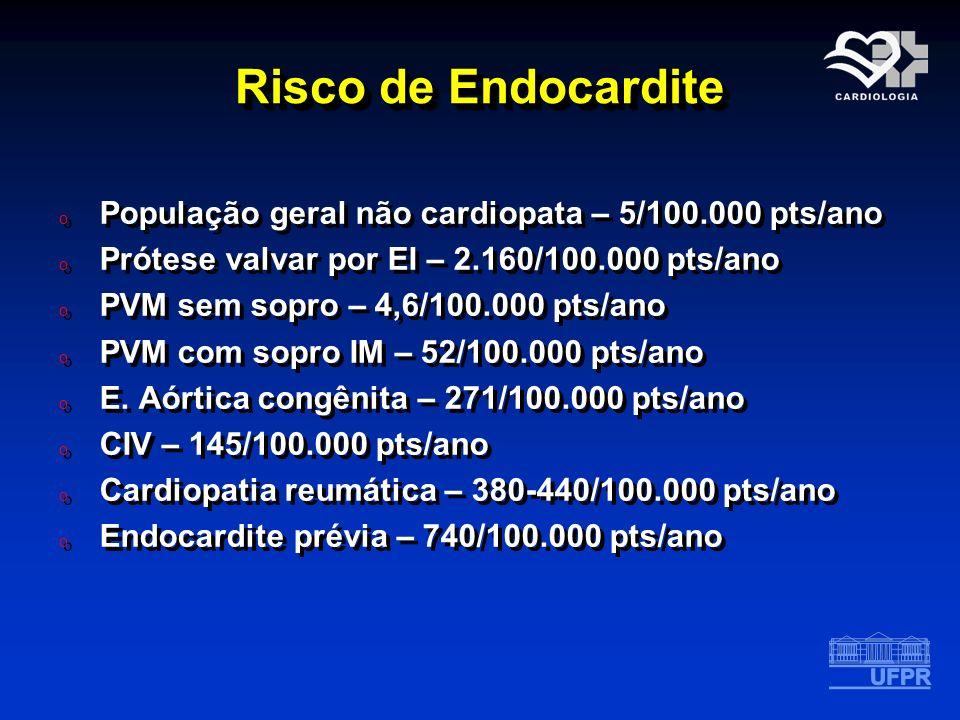Risco de Endocardite População geral não cardiopata – 5/100.000 pts/ano. Prótese valvar por EI – 2.160/100.000 pts/ano.