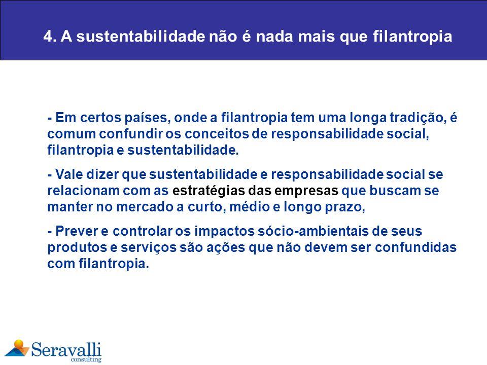 4. A sustentabilidade não é nada mais que filantropia