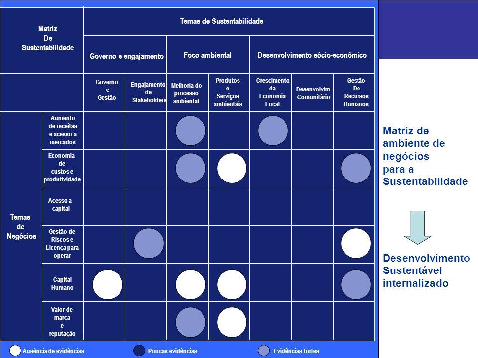Matriz de ambiente de negócios para a Sustentabilidade Desenvolvimento